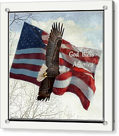 Bald Eagle  God Bless America Acrylic Print by Debbie Portwood