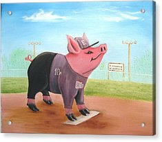 Ball Pig With Attitude Acrylic Print by Bobby Perkins