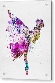 Ballerina On Stage Watercolor 3 Acrylic Print by Naxart Studio