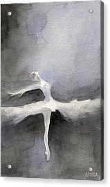 Ballet Dancer In White Tutu Watercolor Paintings Of Dance Acrylic Print by Beverly Brown Prints