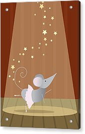 Ballet Mouse Nursery Art Girl Acrylic Print by Christy Beckwith