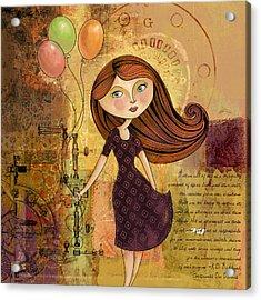 Balloon Girl Acrylic Print by Karyn Lewis Bonfiglio