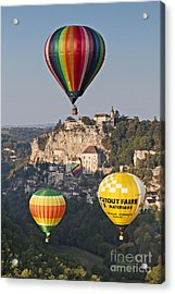 Balloons At Rocamadour Midi Pyrenees France Acrylic Print by Colin and Linda McKie