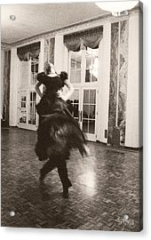 Ballroom Dancers Lift - Sepia Photograph Acrylic Print by Beverly Brown Prints
