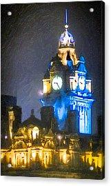 Balmoral Clock Tower On Princes Street In Edinburgh Acrylic Print by Mark E Tisdale