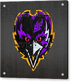 Baltimore Ravens Football Team Retro Logo Maryland License Plate Art Acrylic Print by Design Turnpike