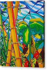 Bamboo And Banana Leaf Acrylic Print by Lee Vanderwalker