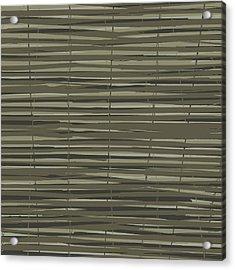 Bamboo Fence - Gray And Beige Acrylic Print by Saya Studios