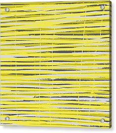 Bamboo Fence - Yellow And Gray Acrylic Print by Saya Studios