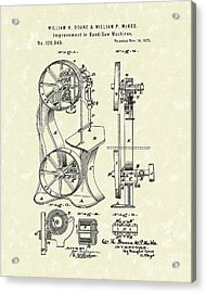 Band Saw 1871 Patent Art Acrylic Print by Prior Art Design