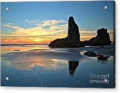 Bandon Oregon Sunset Acrylic Print by Adam Jewell
