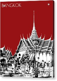 Bangkok Thailand Skyline Grand Palace - Dark Red Acrylic Print by DB Artist