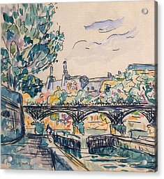 Bank Of The Seine Near The Pont Des Arts Acrylic Print by Paul Signac