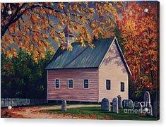 Baptist Church  Cades Cove Acrylic Print by John Clark