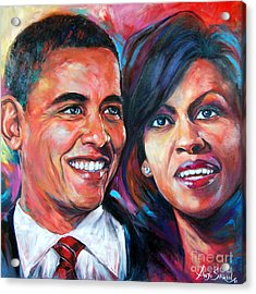 Barack And Michelle Obama Acrylic Print by Anju Saran