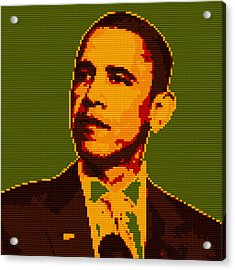 Barack Obama Lego Digital Painting Acrylic Print by Georgeta Blanaru