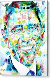 Barack Obama - Watercolor Portrait Acrylic Print by Fabrizio Cassetta