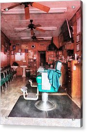 Barber - Barber Shop With Green Barber Chairs Acrylic Print by Susan Savad