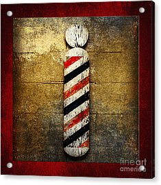 Barber Pole Square Acrylic Print by Andee Design