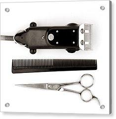 Barber Tools Acrylic Print by Jim Hughes