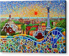Barcelona View At Sunrise - Park Guell  Of Gaudi Acrylic Print by Ana Maria Edulescu