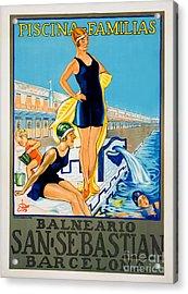 Barcelona Vintage Travel Poster Acrylic Print by Jon Neidert