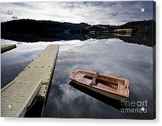 Bark On A Lake In Auvergne. France Acrylic Print by Bernard Jaubert