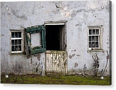 Barn Door In Need Of Repair Acrylic Print by Bill Cannon