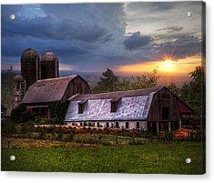 Barns At Sunset Acrylic Print by Debra and Dave Vanderlaan