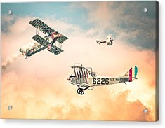 Barnstormers In The Golden Age Of Flight - Fokker D7 - Spad 7 - Curtiss Jenny Jn-4h Acrylic Print by Gary Heller