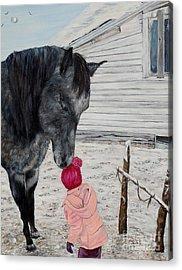Barnyard Kiss Acrylic Print by Marilyn  McNish