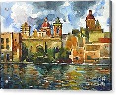 Baroque Domes And Baroque Skies Of Vittoriosa In Malta Acrylic Print by Anna Lobovikov-Katz