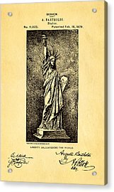 Bartholdi Statue Of Liberty Patent Art 1879 Acrylic Print by Ian Monk