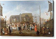 Bartholomew Fair Oil On Canvas Acrylic Print by Egbert van Heemskerck