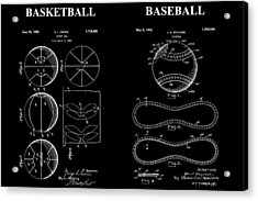 Baseball And Basketball Patent Acrylic Print by Dan Sproul