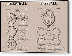 Baseball Basketball Patent Neutral Acrylic Print by Dan Sproul