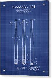 Baseball Bat Patent From 1924 - Blueprint Acrylic Print by Aged Pixel