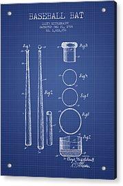 Baseball Bat Patent From 1926 - Blueprint Acrylic Print by Aged Pixel