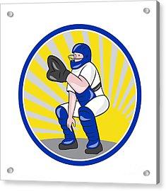 Baseball Catcher Catching Side Circle Acrylic Print by Aloysius Patrimonio