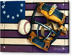 Baseball Catchers Mask Vintage On American Flag Acrylic Print by Paul Ward