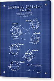 Baseball Cover Patent From 1963- Blueprint Acrylic Print by Aged Pixel
