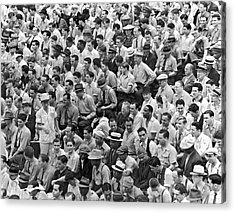 Baseball Fans In The Bleachers At Yankee Stadium. Acrylic Print by Underwood Archives