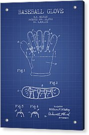 Baseball Glove Patent From 1922 - Blueprint Acrylic Print by Aged Pixel
