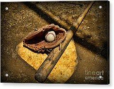 Baseball Home Plate Acrylic Print by Paul Ward