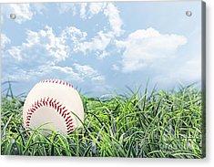 Baseball In Grass Acrylic Print by Stephanie Frey