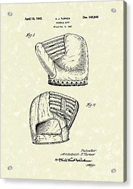 Baseball Mitt 1945 Patent Art Acrylic Print by Prior Art Design