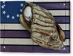Baseball Mitt On American Flag Folk Art Acrylic Print by Paul Ward