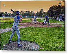 Baseball On Deck Circle Acrylic Print by Thomas Woolworth