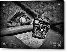 Baseball Play Ball In Black And White Acrylic Print by Paul Ward