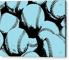 Baseball Pop Art Blue Acrylic Print by Flo Karp